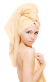 Fair girl after bath acceptance Royalty Free Stock Photography