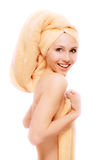 Fair girl after bath acceptance. On white background Royalty Free Stock Photo