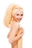 Fair girl after bath acceptance Royalty Free Stock Photo