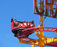 Fair Goers On Exciting Ride Stock Photos
