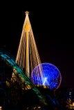 Fair ground christmas decoration at night. Liseberg fairground is lit up during christmas stock photo