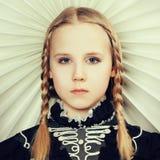 Fair hair girl with fashion hairstyle Stock Photo