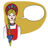 Fair haired blonde girl in Russian folk dress. Slavonic cartoon character: Fair haired blonde girl with speaking bubble in Russian folk and ethnic dress sarafan Royalty Free Stock Photos