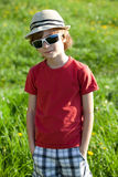 The fair-haired boy in red shirt Royalty Free Stock Photo
