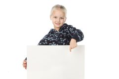 The fair-haired girl holds the empty white poster Stock Photo