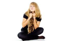A fair-haired girl with a scarf Royalty Free Stock Photos