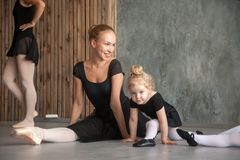 Woman teach ballet girls royalty free stock photos