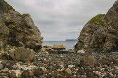 Fair head as seen from kinbane. View from kinbane head on north antrim coast looking towards fair head Stock Photo