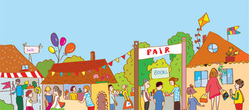 Fair holiday at the town illustration with many people. And houses vector illustration