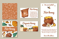 Fair honey invitation. Template for card, poster, blank. Apiary sketch elements. Vector illustration Stock Photos