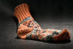 Fair isle knitted sock Royalty Free Stock Photography