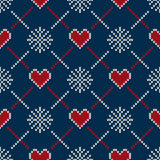 Fair Isle Style Knitted Sweater Design with Hearts. Seamless Knitting Pattern. Vector Knitted Texture Royalty Free Stock Photos