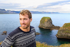 Fair isle sweater - handsome man on Iceland Royalty Free Stock Photo