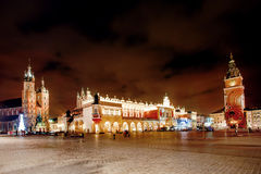 Fair in KRAKOW. Main Market Square and St. Mary`s Basilica. The scene at City Hall. Fantastic view of the Christmas, New Year`s Fair in KRAKOW. Main Market stock images