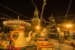 Fair at the Kremlin in Moscow at night. 2016 royalty free stock images