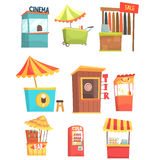 Fair And Market Street Food And Shop Kiosks, Small Temporary Stands For Sellers Set Of Cartoon Illustrations Stock Photos