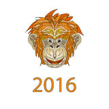 Fair Monkey 2016 year symbol cartoon Stock Photography