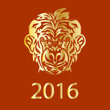 Fair Monkey 2016 year symbol golden Royalty Free Stock Image