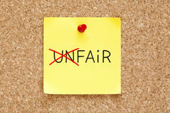 Fair Not Unfair Sticky Note Stock Image