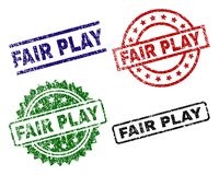 Scratched Textured FAIR PLAY Stamp Seals. FAIR PLAY seal prints with distress surface. Black, green,red,blue vector rubber prints of FAIR PLAY text with unclean stock illustration