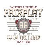 `Fair play, win or lose, play time` typography, tee shirt printing vector illustration