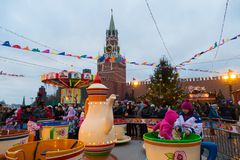 Fair in Red Square. And carousel Royalty Free Stock Photos