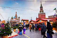 Fair on the Red Square in Moscow. MOSCOW, RUSSIA - DECEMBER 12, 2013: Christmas fair in the middle of the Red Square in Moscow, Russia in December 12, 2013 Royalty Free Stock Photos