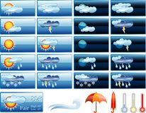 Fair report. Vector icons for weather report on blue buttons