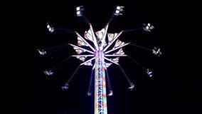 Fair ride shot at night stock footage