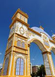 Fair at Seville, Feast in Spain. Construction of entrance to the Fair called Portada, colored electric bulbs and decoration used for the Fair in Seville Royalty Free Stock Photo