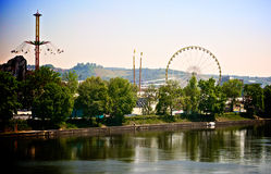 Fair in Stuttgart. The annual Fruehlingsfest in Stuttgart, seen across the river Neckar Royalty Free Stock Image