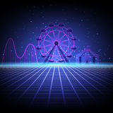 Fair. In style arcades the 80s. Amusement park with a Ferris wheel, a roller coaster and a circus tent royalty free illustration