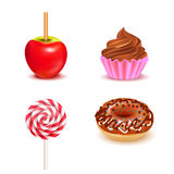 Fair Sweets Realistic Set. With toffee apple and lollipop donut cupcake on white background vector illustration royalty free illustration