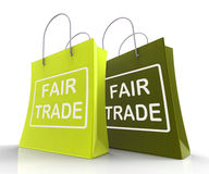Fair Trade Bag Represents Equal Deals and Exchange Royalty Free Stock Images