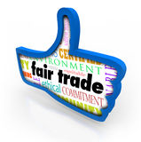 Fair Trade Blue Thumbs Up Words Responsible Business Approval Li. Fair Trade words in a blue thumbs up symbol to illustrate customers approving, liking or Royalty Free Stock Photography