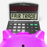 Fair Trade Calculator Shows Ethical Products And Buying Royalty Free Stock Images
