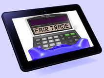 Fair Trade Calculator Tablet Shows Ethical Products And Buying Stock Image