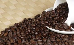 Fair trade coffee beans. Pile of fair trade coffee beans pouring from a cup Stock Images