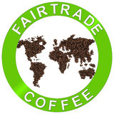 Fair-trade coffee. Fair trade coffee beans world sign vector illustration