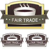 Fair trade coffee label sticker. For use on product packaging, print materials, websites and in advertising and promotion Royalty Free Stock Photo