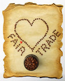 Fair Trade Coffee - Words Laid With Coffee Beans Royalty Free Stock Photography