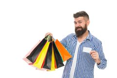 Fair trade competition and accurate information in marketplace. Safe shopping. Consumer protection concept. Man happy. Consumer hold shopping bags and bank card stock photos