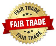 Fair trade. Gold badge with red ribbon vector illustration