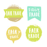 Fair trade hand drawn badges. vector illustration