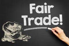 Fair Trade!. Hand writes Fair Trade! on blackboard stock image