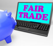 Fair Trade Laptop Means Fairtrade Ethical Shopping Royalty Free Stock Photography