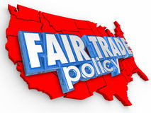Fair Trade Poliy USA United States America Map Supply Economy Royalty Free Stock Photo