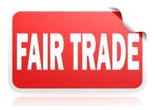 Fair trade red square banner. 3D rendering vector illustration