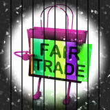 Fair Trade Shopping Bag Represents Equal Deals and Exchange Royalty Free Stock Images