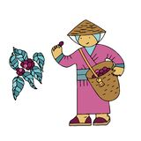 Coffee beans collector in a national costume with a basket in a doodle style stock photos